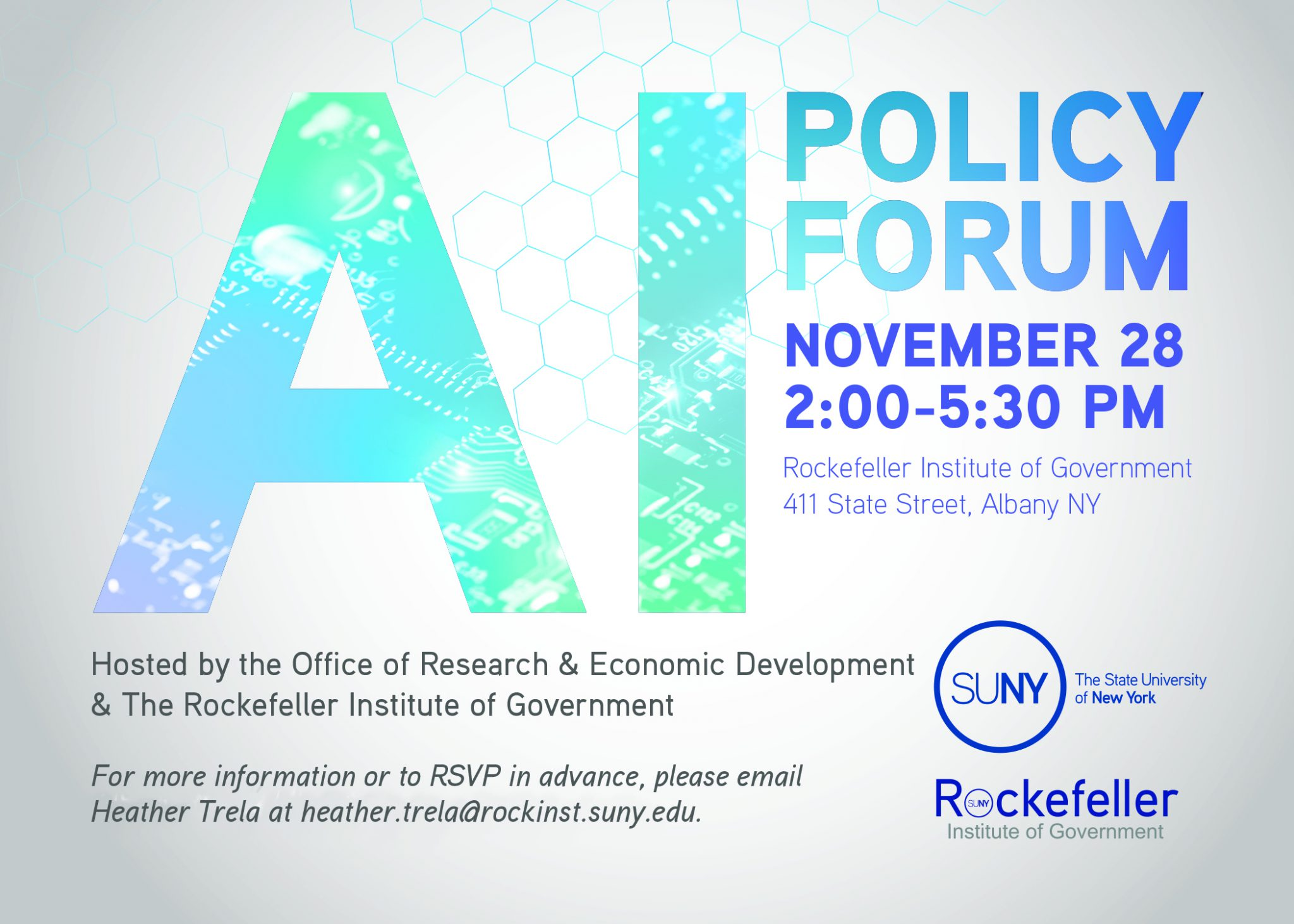 Invitation for AI Policy Forum at the Rockefeller Institute of Government