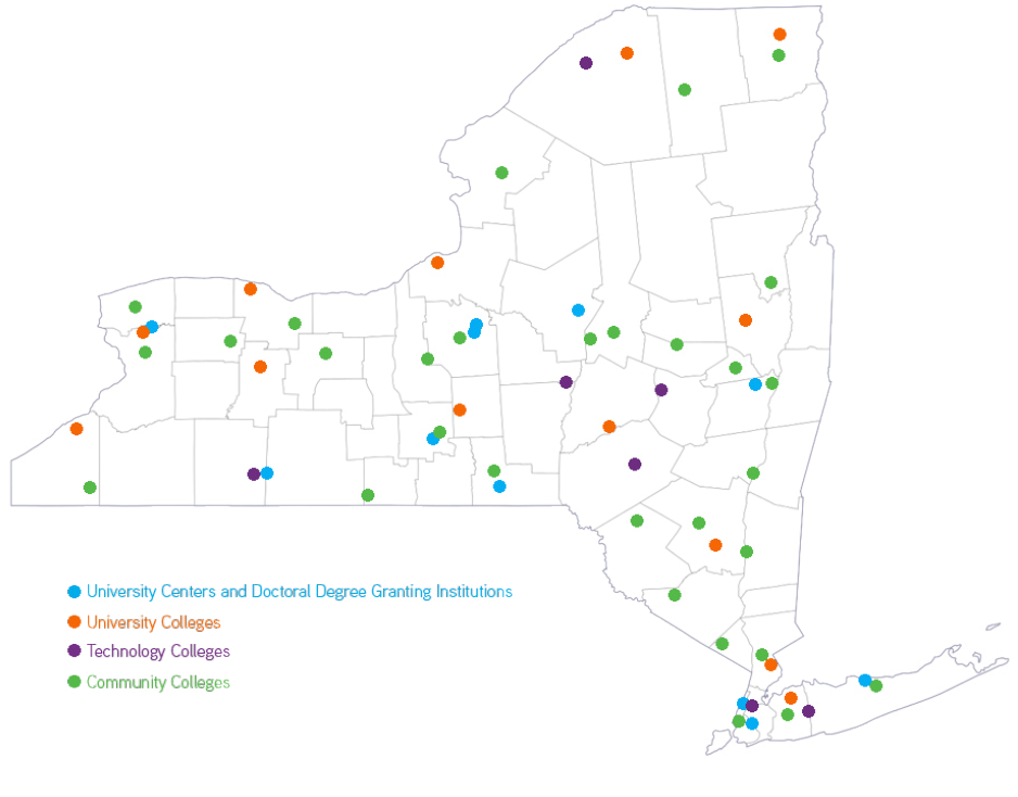Colleges In Ny State Map.The Economic Impact Of The State University Of New York