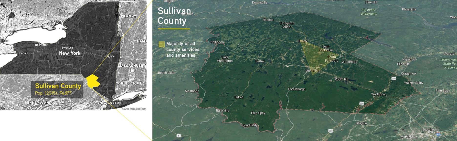 sullivan county services map